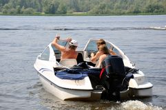 River, family sailed boat off the coast Royalty Free Stock Photos