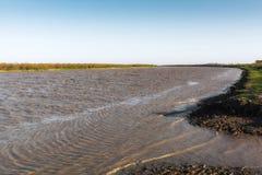 River. Fast flat river. Kura river Royalty Free Stock Photo