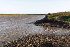 River. Fast flat river. Kura Stock Photography