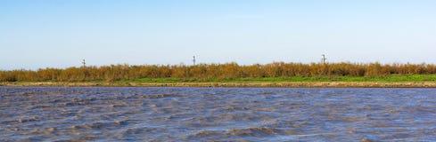 River. Fast flat river. Panoramic view to Kur river Stock Photos