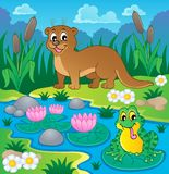 River fauna theme image 1. Vector illustration Royalty Free Stock Image