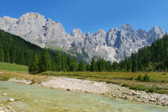 River field and mountains Royalty Free Stock Images