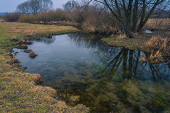River among fields. Small river among fields in early spring Royalty Free Stock Image