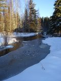 Beautiful country view with a small river in Finland , here in Scandinavia. River in Finland is waiting when the real winter is coming and the ice to cover the royalty free stock images
