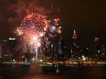 River Fireworks NYC 2. Fireworks explode over the Hudson River Royalty Free Stock Photography