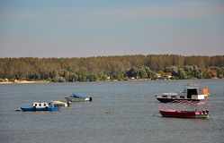 River with fishing boats Stock Photography