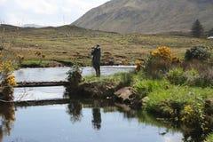 River fishing, Ireland. Man fly fishing on an Irish river Stock Photo
