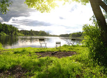 River Fishing place. On lake under sky Royalty Free Stock Photo