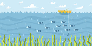 River fishing vector seamless background Stock Photography