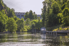 In a river at five sea, power plants and lock gates Royalty Free Stock Image