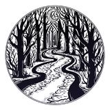 River floating in the middle of the night through dark misty forest leading to horizon between trees. Eerie swamp outdoors. Dangerous waters concept, tattoo stock illustration