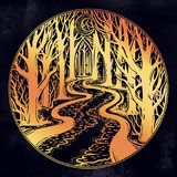 River floating in the middle of the night through dark misty forest leading to horizon between trees. Eerie swamp outdoors. Dangerous waters concept, tattoo royalty free illustration