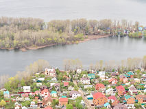 River Flood Aerial View  Homes and Park Royalty Free Stock Photos