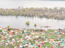 River Flood Aerial View  Homes and Park Royalty Free Stock Images
