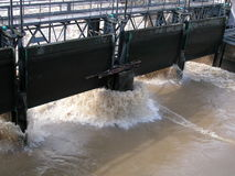 River flood and dam wall Stock Photography