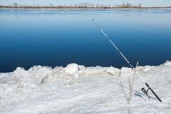 River flood fishermen. Torn river ice fishermen. River with the Royalty Free Stock Photo