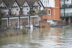 River in flood at Maidenhead. River Thames in flood at Maidenhead winter 2014 Royalty Free Stock Image