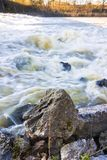 River in flood after several days of rain Royalty Free Stock Photos