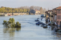 River flood. Flood of Ticino river in Pavia in november 2014 Royalty Free Stock Photography