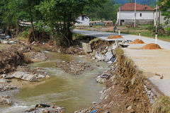 River after flooding. River flow calmed down after powerful flooding distruction Stock Images