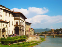 River in Florence. The Arno river flowing through Florence next to the Uffizi gallery Royalty Free Stock Image
