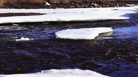 River flow in ice in sunny spring day stock video