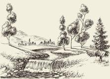 River flow landscape. Hand drawn nature background stock illustration