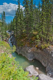 River flow in Maligne Canyon. Beautiful river flowing through crevasses formed from earthquakes Royalty Free Stock Photo