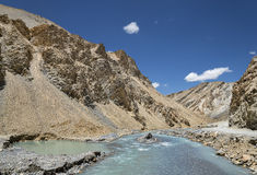 River flow in ravine of Ladakh mountains Royalty Free Stock Photography