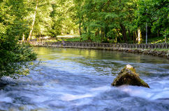 River flow. Spring of the Bosna river, small waterfall and park Vrelo Bosne near Sarajevo - Bosnia and Herzegovina stock image