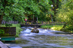 River flow. Spring of the Bosna river, small waterfall and park Vrelo Bosne near Sarajevo - Bosnia and Herzegovina stock images