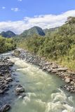 River flowing in a bright day royalty free stock photos