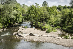 River flowing through Burrs Country Park, Bury Royalty Free Stock Images