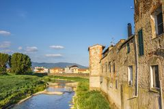 River flowing through Campi Bisenzio in Tuscany. Italy Stock Photos