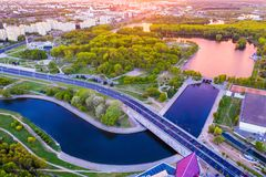 River flowing in city centre. Minsk aerial landscape royalty free stock image
