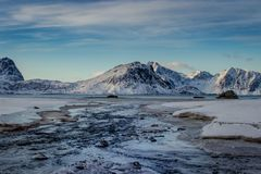 River flowing down to Haukland Beach on the Lofoten Islands in winter royalty free stock photography