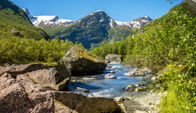 River flowing from glacier. River flowing from the briksdal glacier in norway on a hot summer day. Looking down river Royalty Free Stock Photography