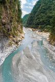 River flowing through the gorge in Taroko National Park Royalty Free Stock Photo