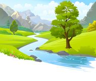 An illustration of a river flowing through mountains, hills and through scenic green fields. A river flowing through the meadows and large mountains. A green vector illustration