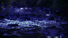 River Flowing Over Rocks Night stock video footage