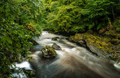 River flowing past rocks. A long exposure of the River Tilt at Blair Atholl in Scotland Stock Images