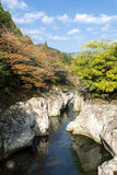 River flowing between a rock Royalty Free Stock Images