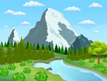 River flowing through the rocky hills. Summer landscape with mountains. River and the forest, nature landscape. vector illustration Stock Photo