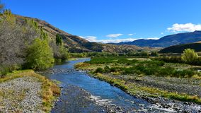 River flowing through scenic Lees Valley in New Zealand. River flowing through scenic Lees Valley in Canterbury, New Zealand Royalty Free Stock Photography
