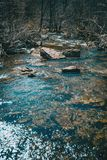 A river flowing. With some big stones in it sorrounded by bare trees stock photos