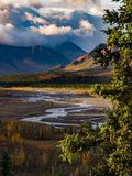 River Flowing Through Valley in Denali National Park Stock Image