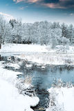 River flowing through the winter forest. Royalty Free Stock Photos