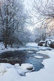 River flowing through the winter forest Royalty Free Stock Photos