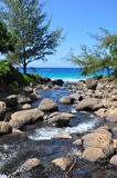 River flows into the Ocean at Hanakapi'ai Beach Stock Photography