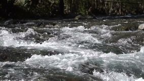 A river flows over rocks stock footage